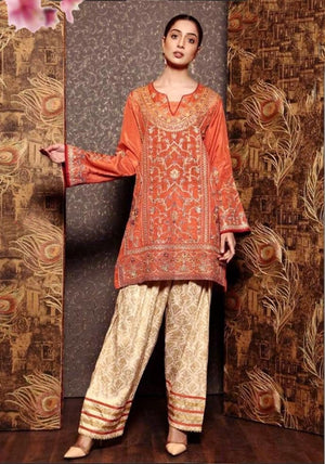 Charizma LC-555 Orange Embroidered Three Piece Lawn Collection