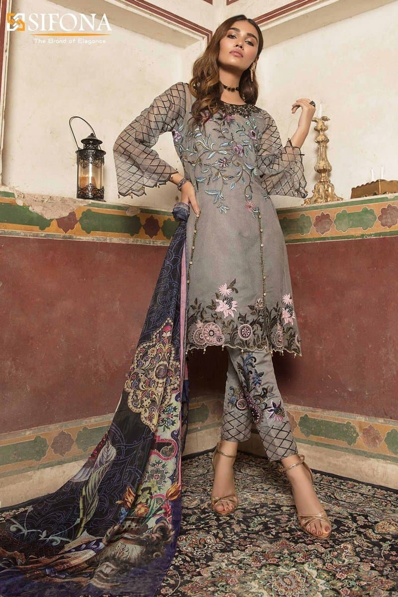 Sifona SF-10 Embroidered Three Piece Lawn Collection