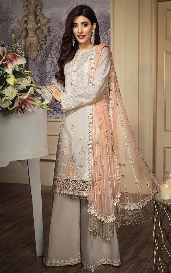 Anaya AN-303B Light Grey Embroidered Three Piece Lawn Collection