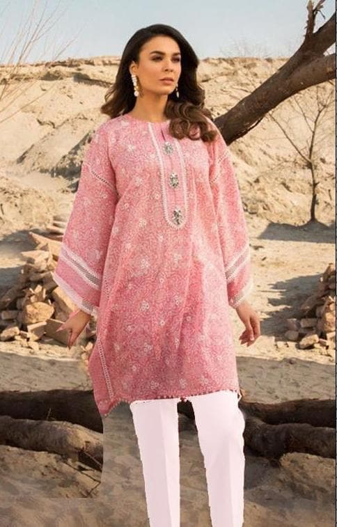 Zara Noor D#3213 Pink Embroidered Lawn two piece Summer Collection