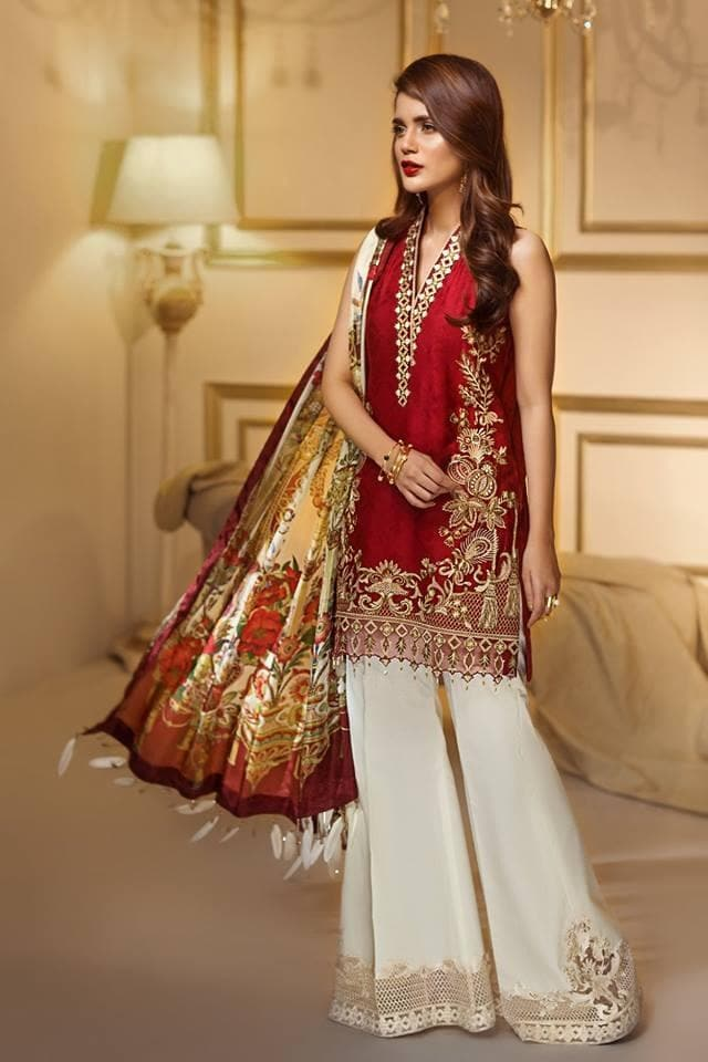 Anaya AN-401 Red Eid Collection Linen Three Piece Suit Winter
