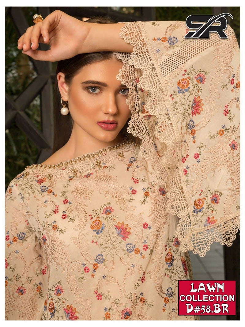 Bareeze SR-58 Embroidered Three Piece Lawn Collection