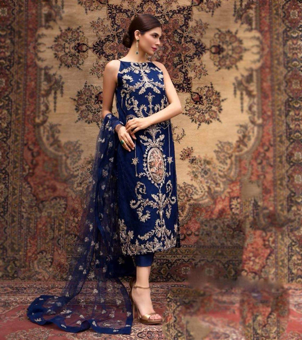 Bareeze BR-458 Blue Embroidered Lawn Three Piece Summer Collection
