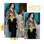 Charizma CH-455 Black Embroidered Linen Three Piece Winter Collection