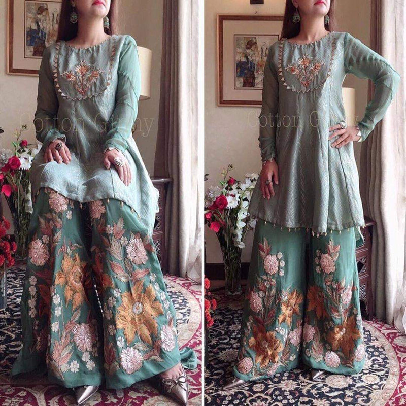 Cotton Giny CG-888 Grey Embroidered Lawn two piece Summer Collection