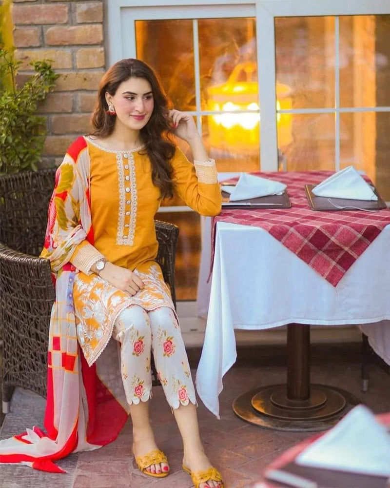 Maria B MB-223 Yellow Three Piece Lawn Collection