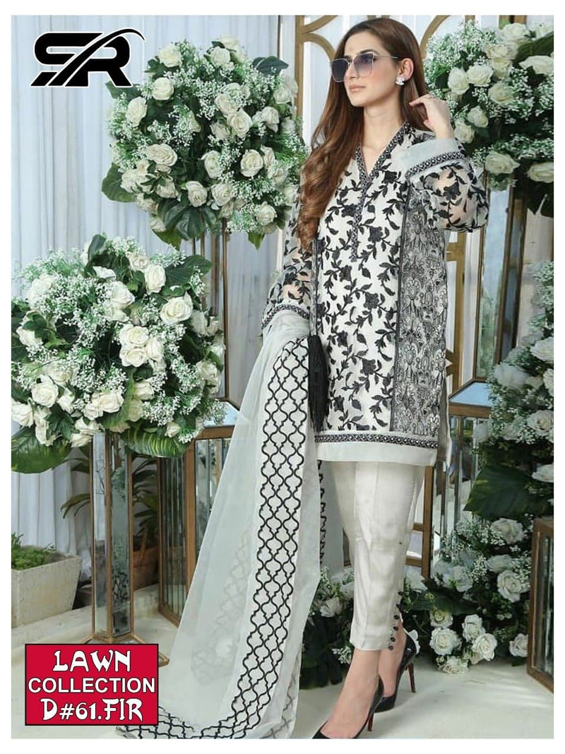 Firdous D-61 Embroidered Three Piece Linen Collection