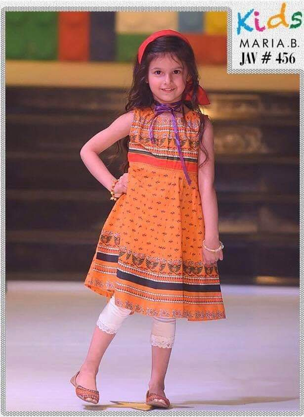 Maria B D-06 Orange kids Wear Lawn Embroidered two piece