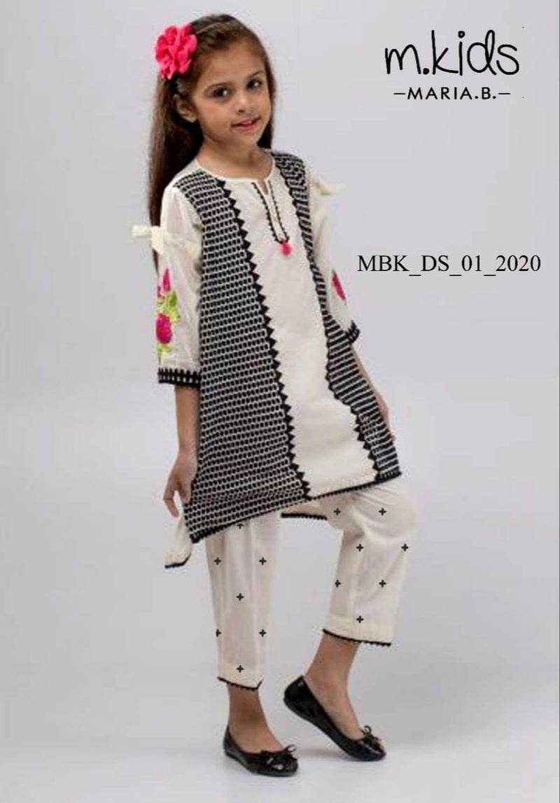 Maria B D-04 White kids Wear Lawn Embroidered two piece