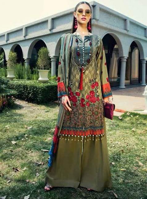 Alkaram AJ-300 Embroidered Lawn Three Piece Summer Collection