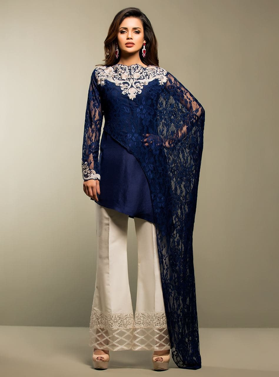 Zainab Chotani Blue Net embroidered Outer With Lawn inner