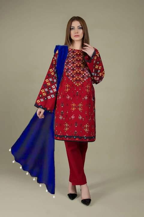 Limelight LT-230 Red Linen Collection Embroidered Three Piece