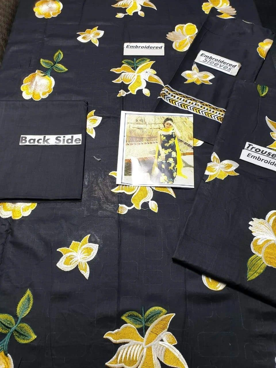 Aruze Black Rose Embroidered two piece Linen Collection