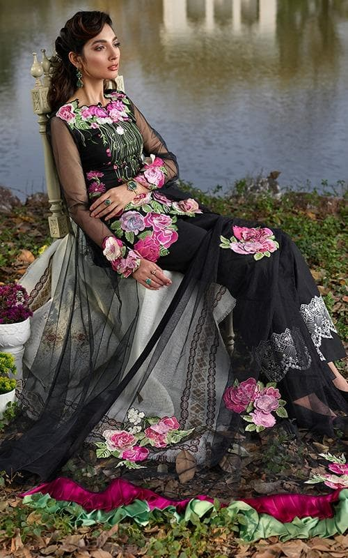 Asifa & Nabeel AN-06 Black Eid Collection Embroidered Lawn Three Piece Summer Collection