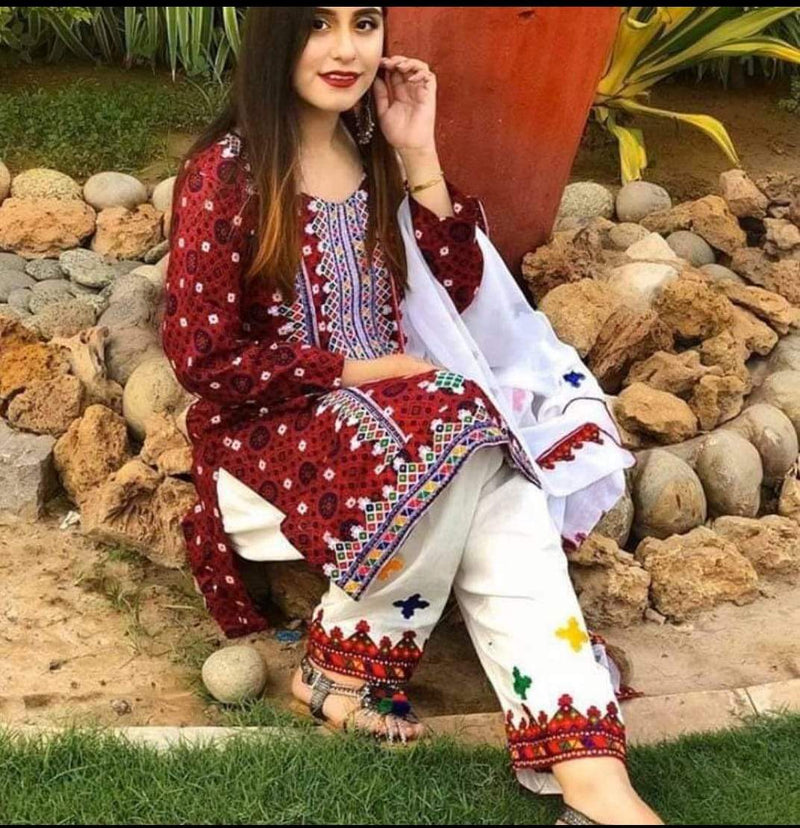 Maria B LC-184 Ajrak Red Embroidered Three Piece Linen Collection