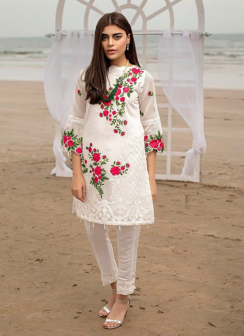 Aruze White  Net embroidered Outer With Linen inner