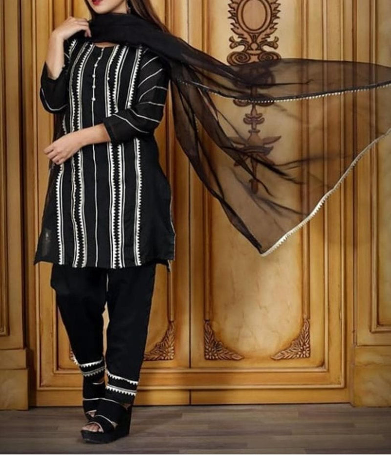 Zainab Chotani ZC-485 Black Green Embroidered Three Piece Linen Collection