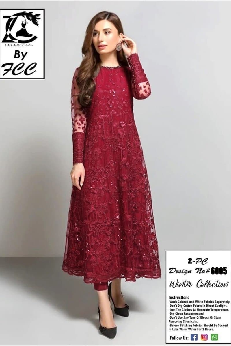 Maria B MB-6005  Mehroon Net embroidered Outer With Linen inner