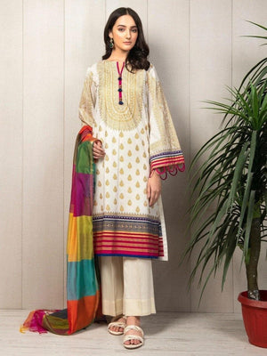 3 PCS LIME LIGHT EMBROIDERED LINEN SUIT WITH LINEN DUBBATA D-19