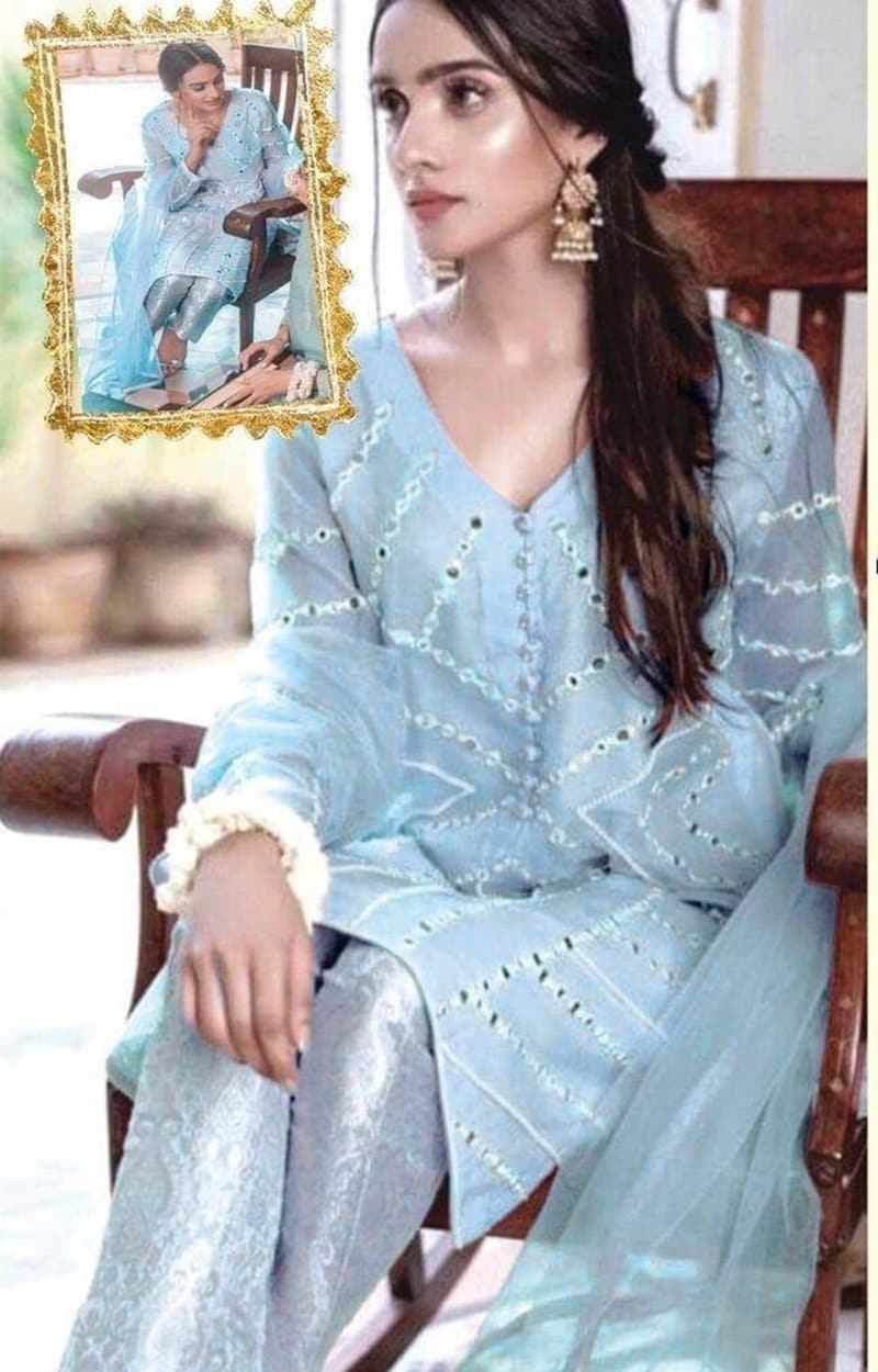 Agha Noor AGN-S01 Sky Blue Unstitched Organza Collection Embroidered Three Piece