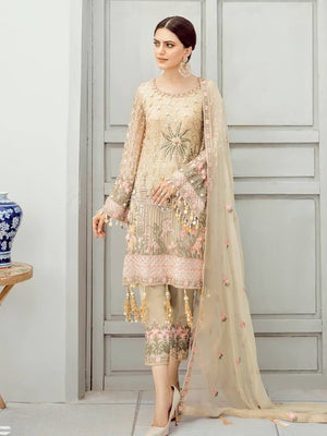 Akbar Aslam AA-01 Unstitched Chiffon Collection Embroidered Three Piece