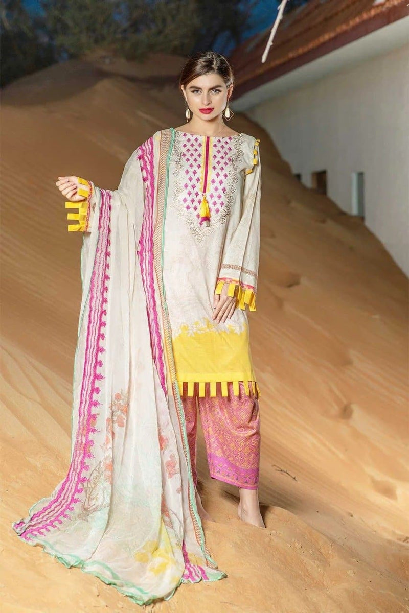 Charizma CH-4066 Embroidered Three Piece Linen Collection