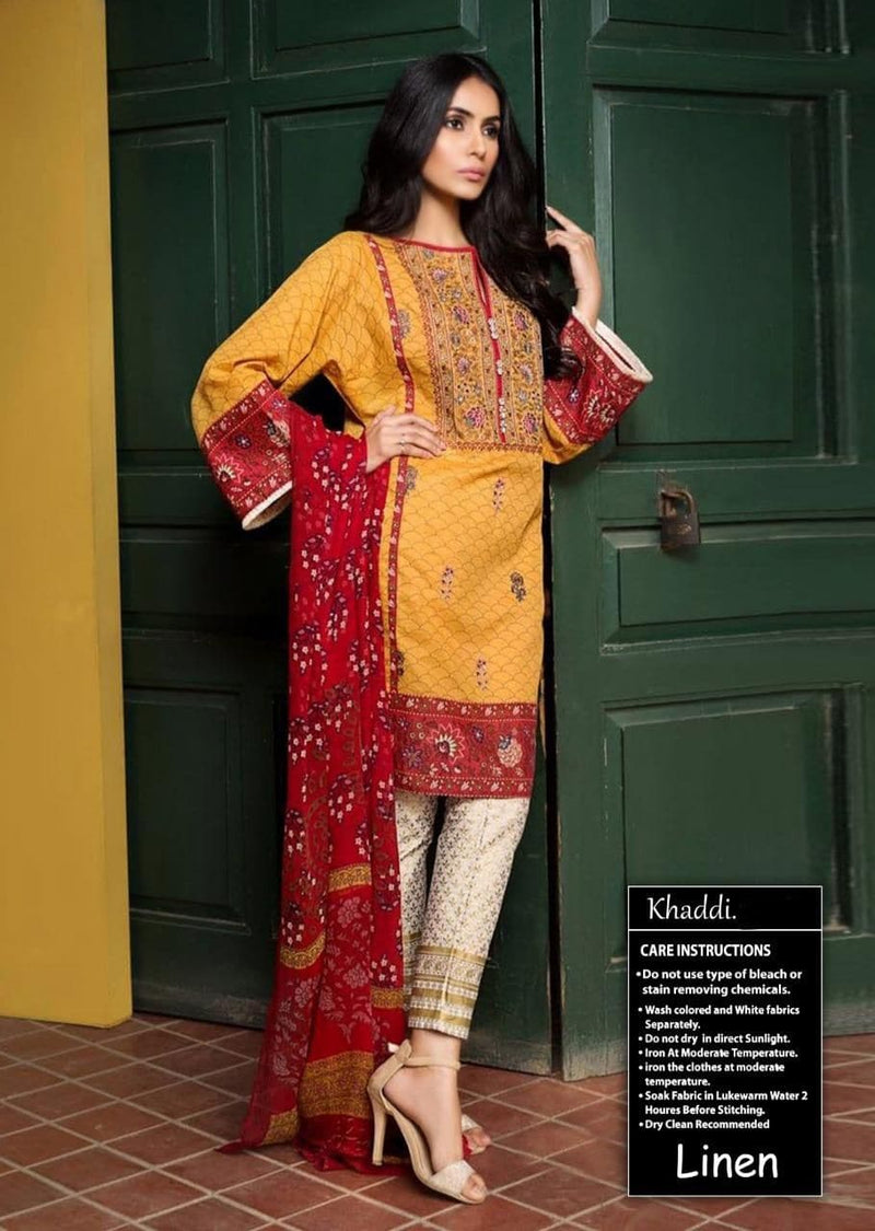 Khaadi LC-235 Yellow Embroidered Three Piece Linen Collection