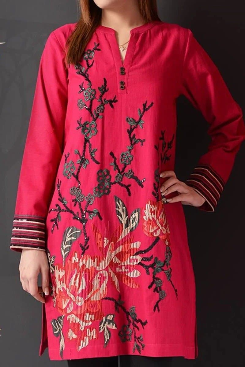 Khaadi ZC-Pink Khaddar Embroidered Two piece