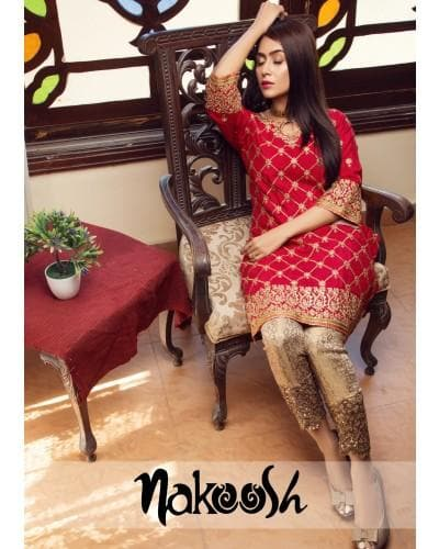 Nakoosh NK-012 Red Embroidered Three Piece Linen Collection