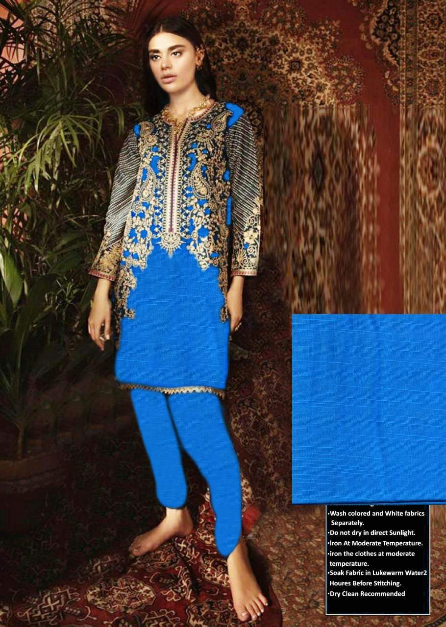 Maria B mb-6666 Blue Khaddar Embroidered Two piece