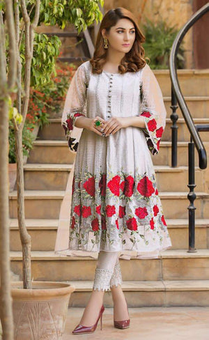 Aruze White 640 Net embroidered Outer With Linen inner