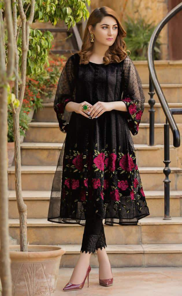 Aruze Black 640 Net embroidered Outer With Linen inner