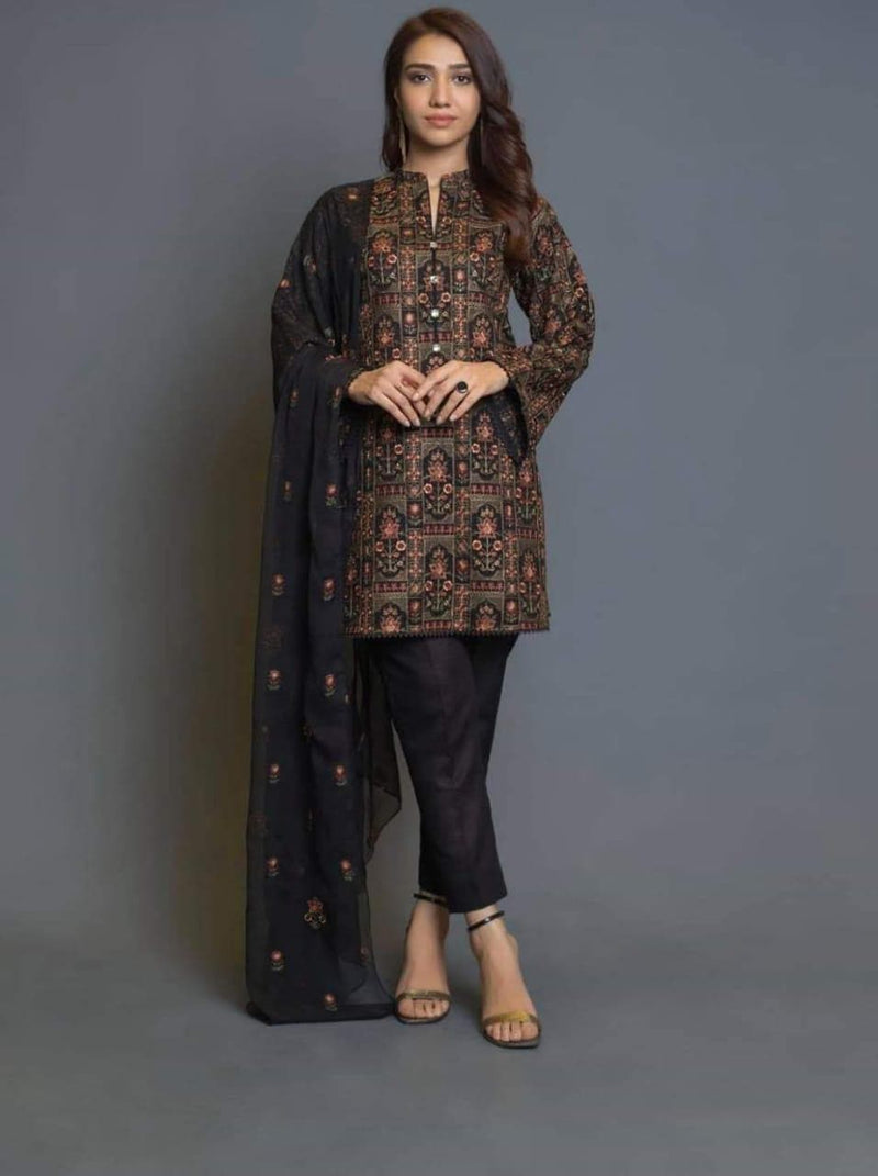 Bareeze CS_D-2 Linen Collection Embroidered Three Piece