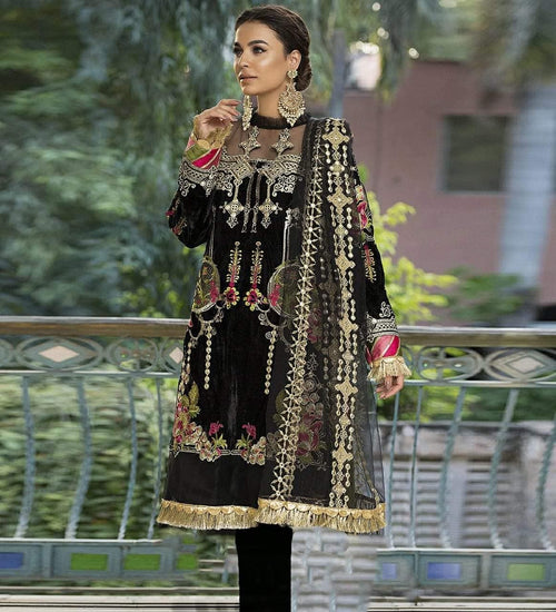 Asifa N Nabeel JL-100058 Black Embroidered Linen Three Piece Winter Collection - Chenab Stuff