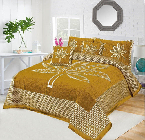 Foamy Velvet Bed Set Leaf Design HF#038 - Chenab Stuff