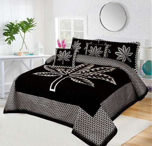 Foamy Velvet Bed Set Leaf Design HF#031 - Chenab Stuff