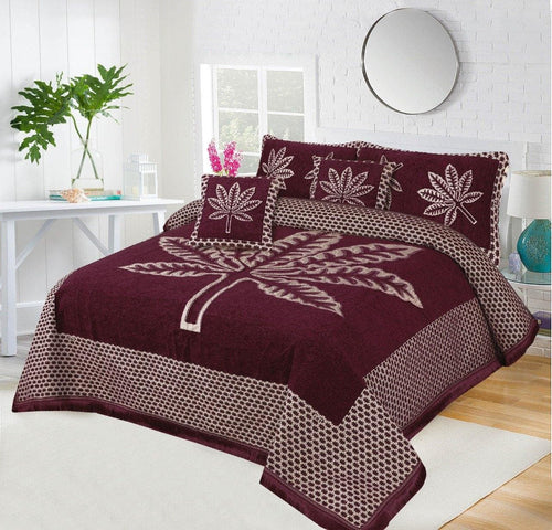 Foamy Velvet Bed Set Leaf Design HF#035 - Chenab Stuff
