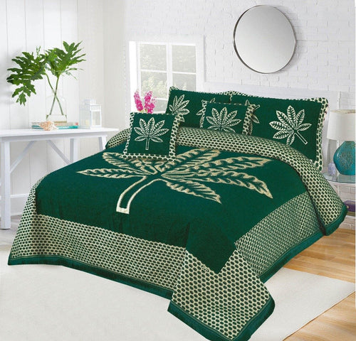 Foamy Velvet Bed Set Leaf Design HF#036 - Chenab Stuff