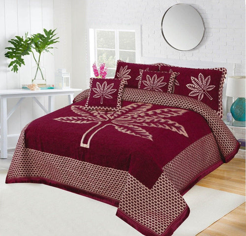 Foamy Velvet Bed Set Leaf Design HF#032 - Chenab Stuff