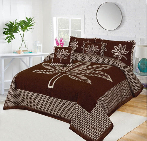 Foamy Velvet Bed Set Leaf Design HF#034 - Chenab Stuff
