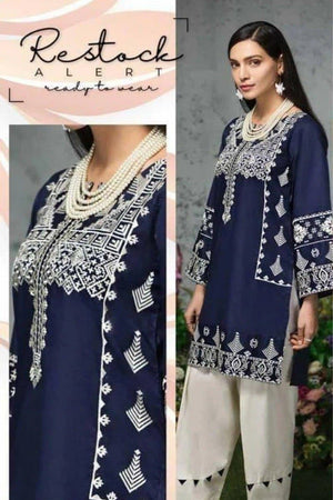 Mussamry Blue Linen Embroidered two piece Winter Collection