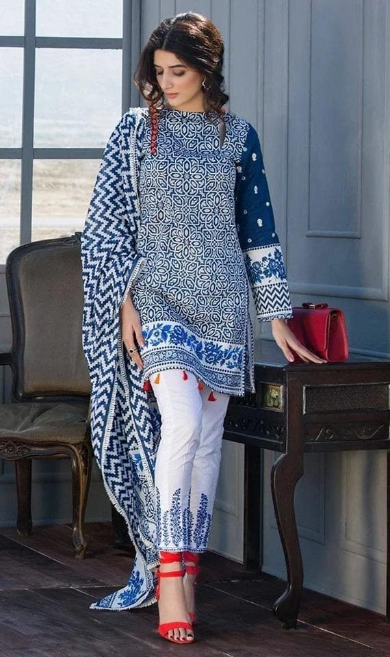 Maria B MB-2068  Embroidered Three Piece Lawn Collection