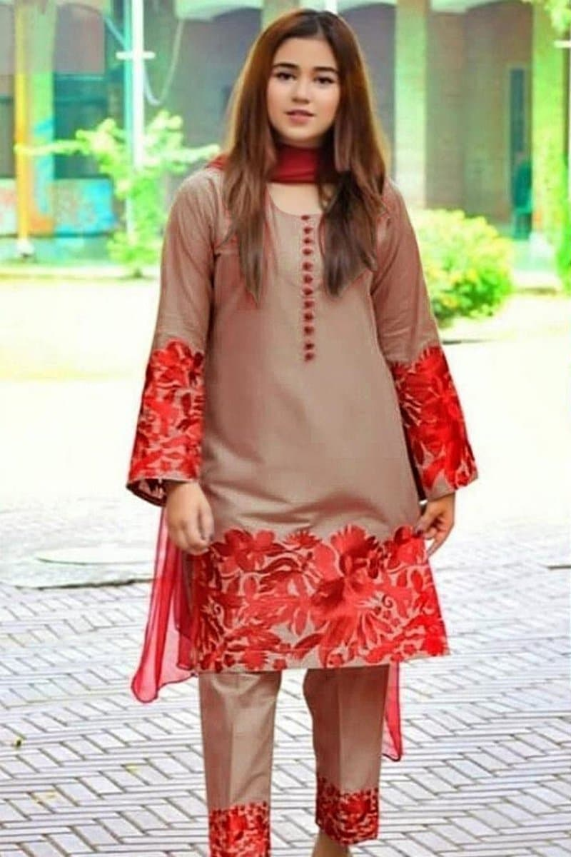 Farah hassan FH-50 Fone Embroidered Linen Three Piece Winter Collection