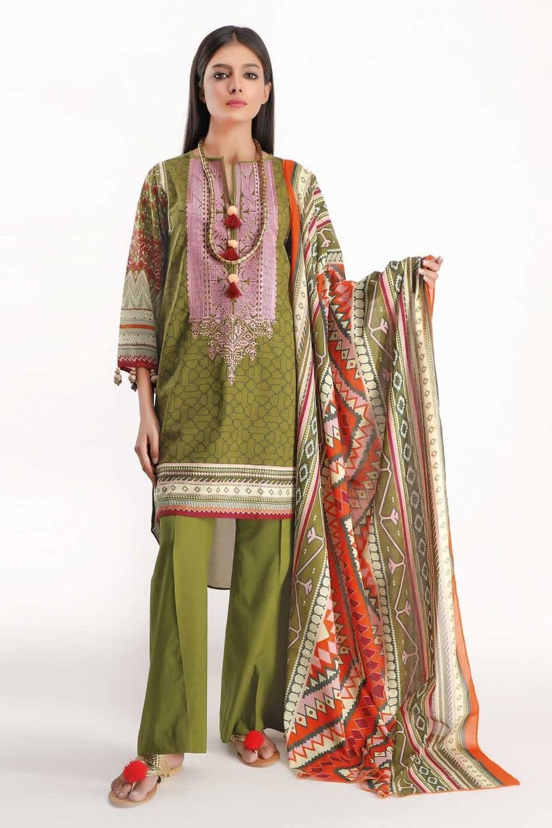 Khaadi 19403 Lawn three piece suit Summer Collection