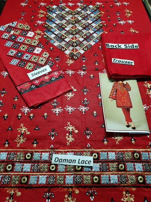 Limelight LT-220 Red Lawn Collection Embroidered two piece - Chenab Stuff