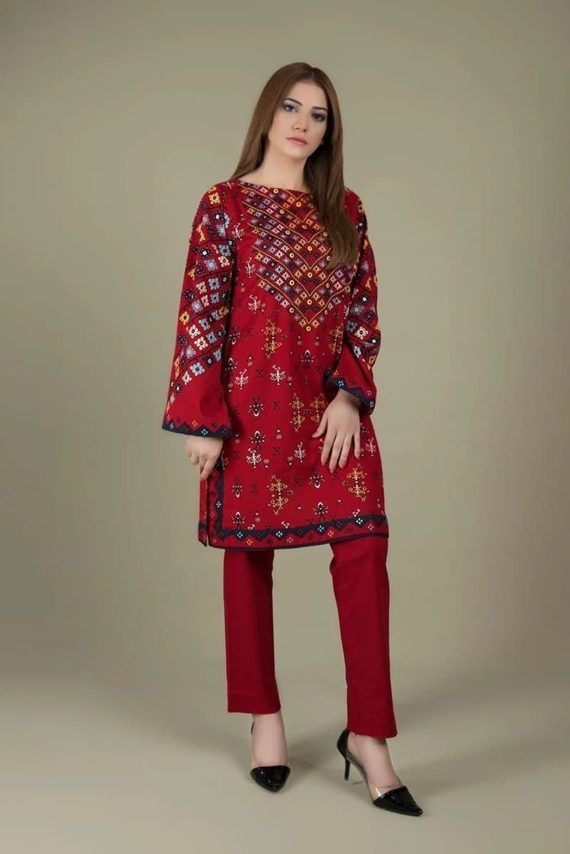 Limelight LT-220 Red Linen Collection Embroidered two piece