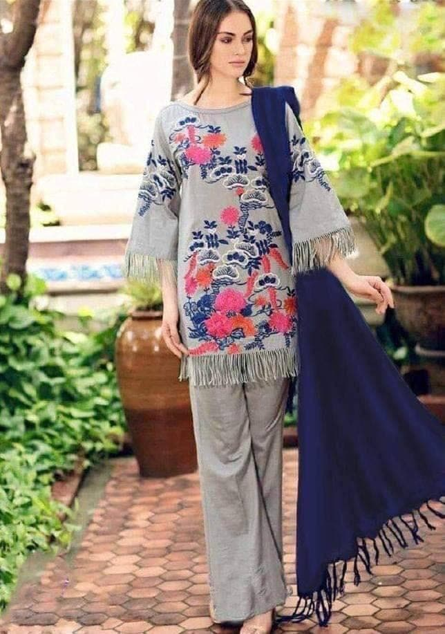 Charizma CH-10 Grey Embroidered Linen Three Piece Summer Collection