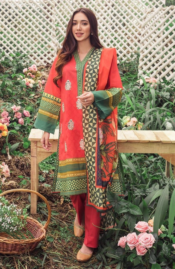 Orient OR-3148 Red Embroidered Three Piece Lawn Collection
