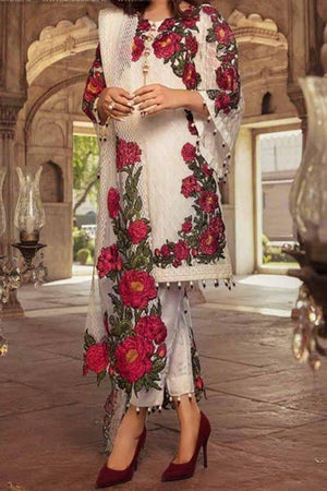 Charizma CH-50 three piece Linen Embroidered Suit