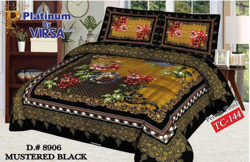 Panel Bed Sheet Design ZCP-Mustered Black - Chenab Stuff